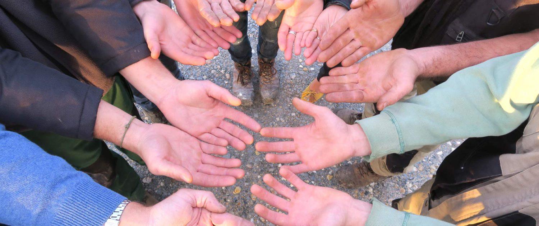 Les mains de l'équipe : caleuses et terreuse au service de vos espaces verts en Normandie
